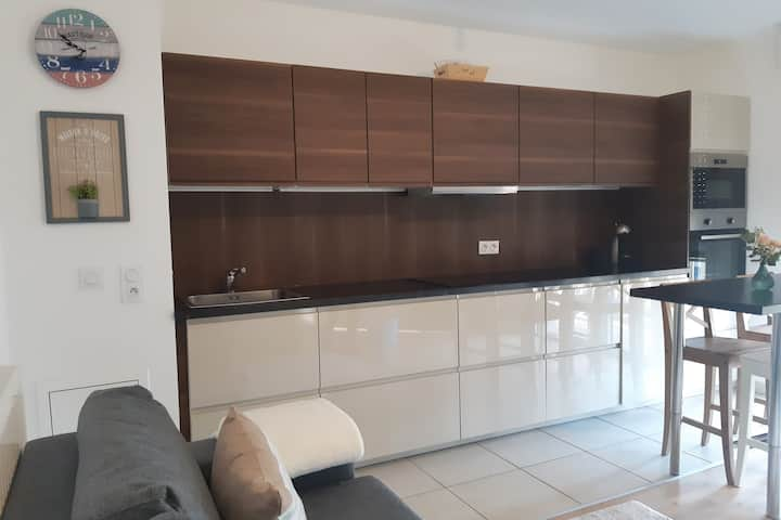 Beautiful new apartment with parking 400mTrouville