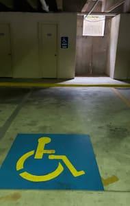 Handicap parking in garage