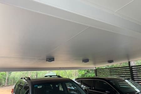 Sensor lights in double car port for your convenience