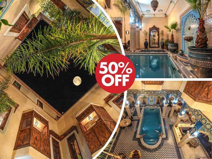 Deux chambres  6 personnes Riad Marrakech piscine