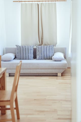 Room 2: Ground floor living room with pull out sofa for 2
