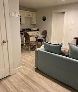 The only tight space in the unit that can't be accessed by wheelchair is behind the couch but the couch can easily be moved forward and out of the way