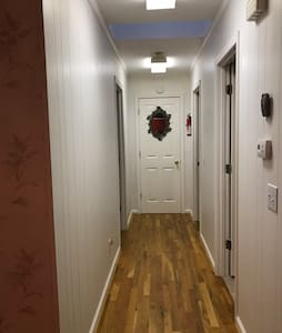 "The hallway is 36"". There are no steps in the house."