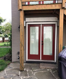 Door is at ground level with a 3 inch door sill