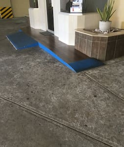 There's wheelchairs access into the building and absolutely no curbs or steps from the building entrance to the apartment entrance.
