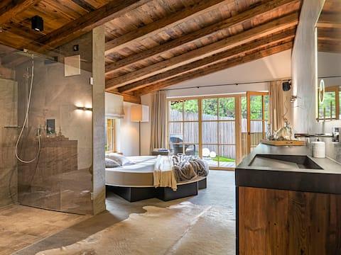 romantisches Chalet mit Hot Pot und privater Sauna