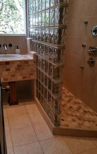 Walk in Spa Shower    ,  no doors .....just walk in and turn on the water jets .