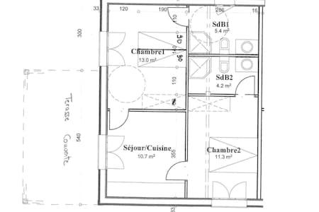 Si vous optez pour l'option 1 chambre vous aurez accès à la cuisine, à la chambre 1 et à la salle de bain 1.