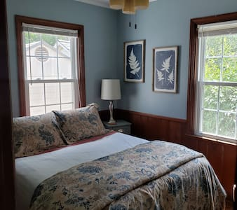 A cozy room with full size sleep number bed, with no stairs ground floor access.