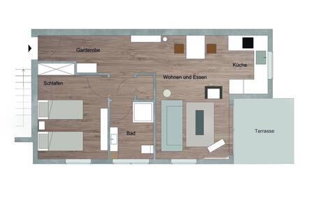 Alle Türen in der Wohnung sind mindestens 82 cm breit, aber der Durchgang zwischen Waschbecken und Dusche im Bad ist wesentlich enger und für einen Rollstuhl ungeeignet.