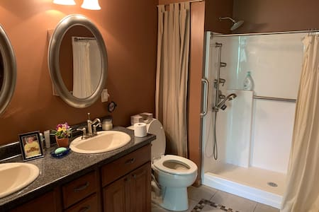 High handicapped toilet, shower with seat, grab bars, and hand held shower.