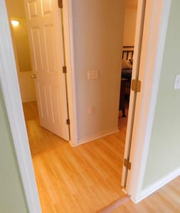 Doorways to Master bedroom (on right). Other doorway on the left is a large walk-in closet.