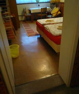 Breiter Eingang (81 cm) ins Zimmer über eine Türschwelle.