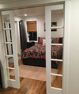 Beautiful pocket doors open fully for easy access.