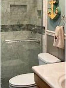 Grab bar installed in shower