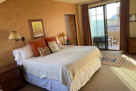 King bed with elevator door and patio