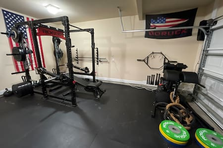 Feel free to use the gym. Please put away all weights when your done and wipe down surfaces with supplies provided. Thank you
