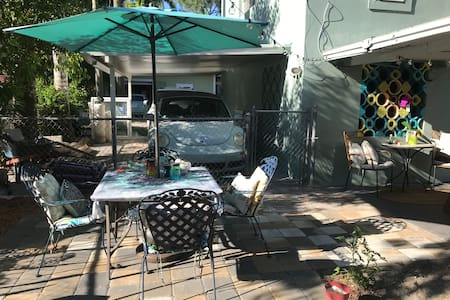 Our patio is located right outside garage