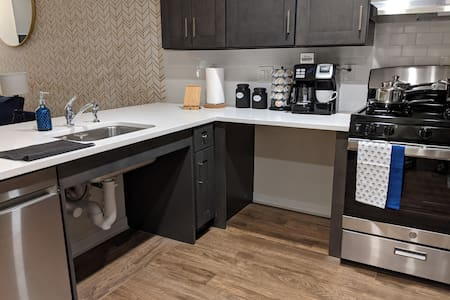 Wheelchair accessible sink and counters.