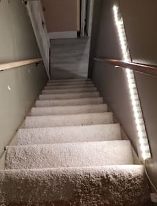 Lighted stairs by motion sensors