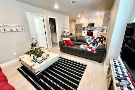 The living room leads directly into the bedroom.