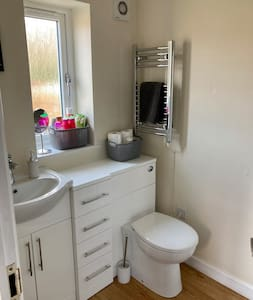Flat spacious bathroom with step in shower