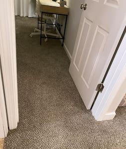 """Doorway into bedroom is >32"""" wide."""