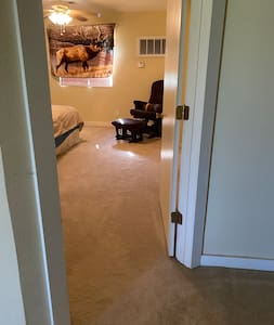 Entrance to bedroom with walk-in closet.