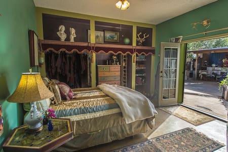 "The master bedroom has an open closet, with no doors and  a 36"" wide door."
