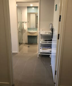 Level and wheelchair accessible entry to apartment.