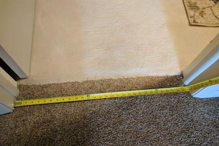 Exact measurement of the doorway into the bedroom.