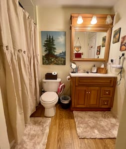 Bedroom and bathroom are same level