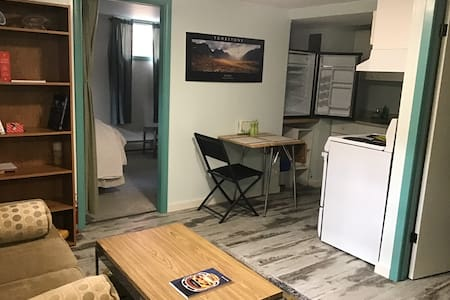 This photo shows that the main living space and the bedroom are on a continuous floor.  To enter the apartment, one must go downstairs 8 steps , however the apartment is a flat