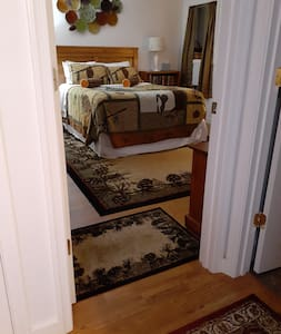 Flat entry from kitchen to bedroom....