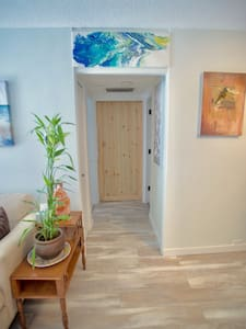 There are no steps inside the apartment.