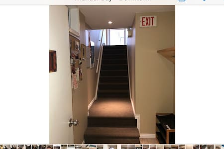 The door at the top of the stairs is your private front entrance . The are the stairs leading into the entrance of the apt.