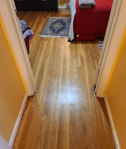 bedroom is fully accessible. nosteps. no stairs. room door is 29.5 inches wide.