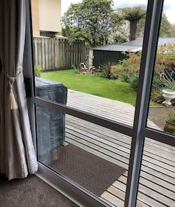 Large sliding door onto a deck.  When open its 110 metres.