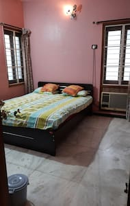 A/c room with Queen size bed.