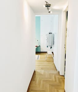 The corridor which leads to the bedroom.