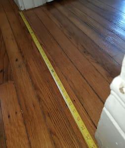 """flat path from front hallway to bedroom through 36"""" door"""