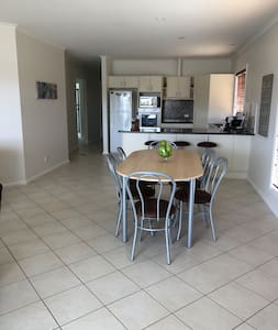 Dining area is spacious and on same level as rest of the house