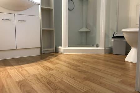Level floor into bathroom
