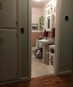 Guest bathroom entry.