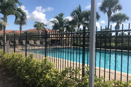 Awesome pool always warm, large shallow end with railing to enter
