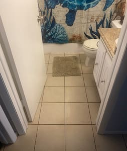 No steps to access the bathroom.