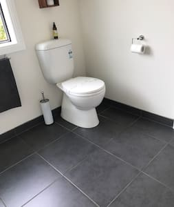 Spacious area around toilet, however there is two small steps from living area to get to bathroom.