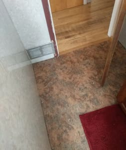 Entry into bathroom is flat and free of obstruction.