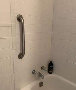 Grab bar bolted to the bathtub wall.