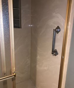 Grab bar in opening of shower